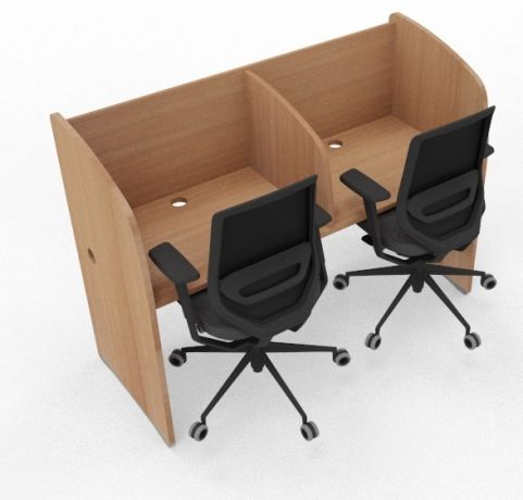 Offimat 2 Person Study Booth Full Beech