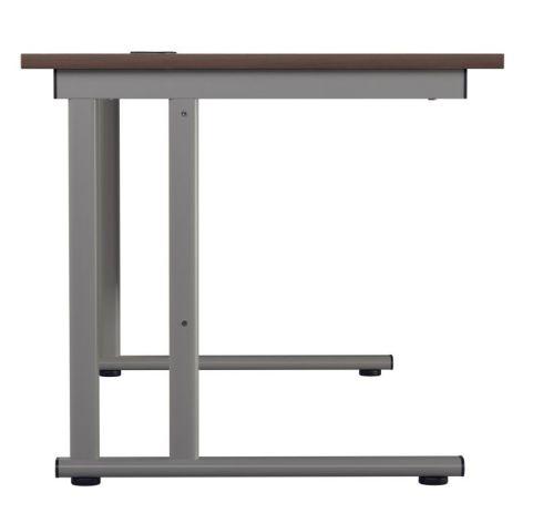 Ziggy Rectangular Desk In Dark Walnut Side View