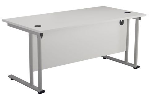 Ziggy Rectangular Desk In White Rear View