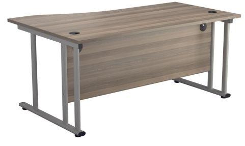 Ziggy Right Hand Wave Desk In Grey Oak Rear View