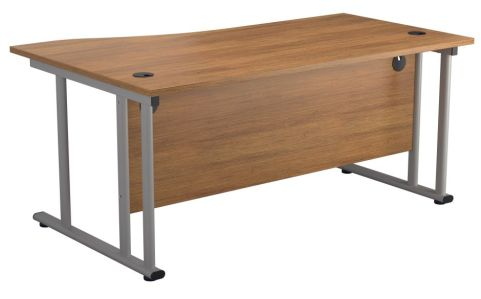 Ziggy Right Hand Wave Desk In Light Walnut Rear View