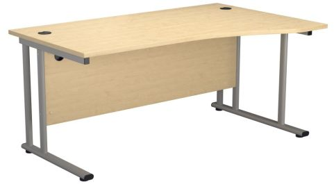 Ziggy Right Hand Wave Desk In Maple Front View