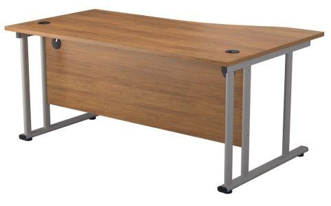 Ziggy Left Hand Wave Desk In Light Walnut Rear View