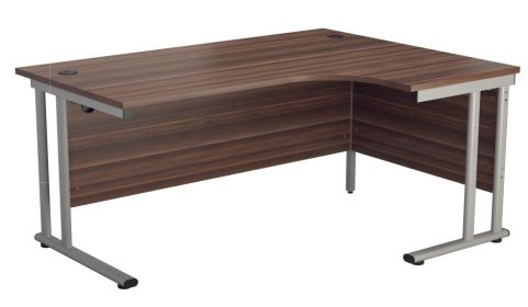 Ziggy Right Hand Corner Desk In Dark Walnut Angled View