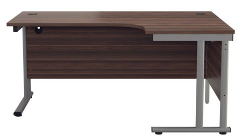Ziggy Right Hand Corner Desk In Dark Walnut Front View