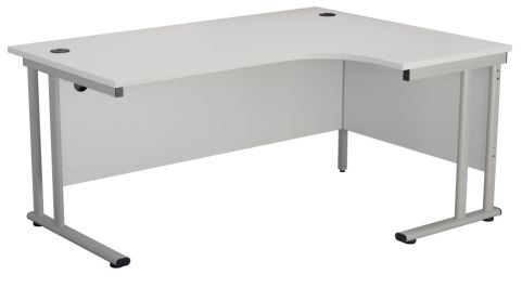 Ziggy Right Hand Corner Desk In White Angled View
