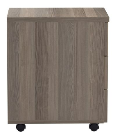 Ziggy Three Drawer Pedestal In Grey Oak Side View