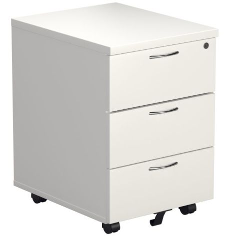 Ziggy Three Drawer Pedestal In White Angled View