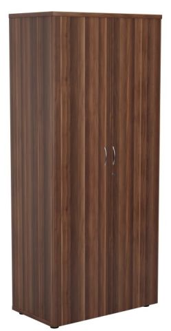 Ziggy Wooden Double Door Cupboard In Dark Walnut Angled View