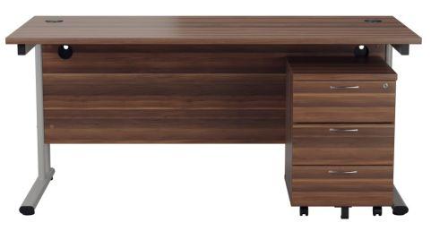 Ziggy Rectangular Desk And 3 Drawer Pedestal Bundle In Dark Walnut