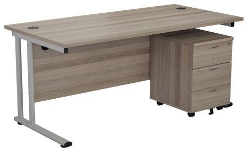 Ziggy Rectangular Desk And 3 Drawer Pedestal Bundle In Grey Oak Angled View