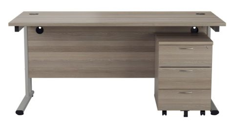 Ziggy Rectangular Desk And 3 Drawer Pedestal Bundle In Grey Oak Front View