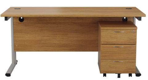 Ziggy Rectangular Desk And 3 Drawer Pedestal Bundle In Light Walnut