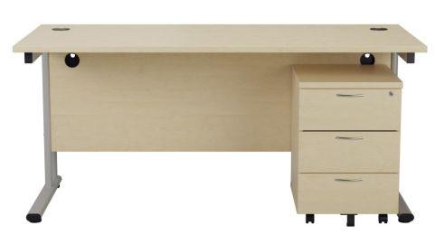 Ziggy Rectangular Desk And 3 Drawer Pedestal Bundle In Maple Front View