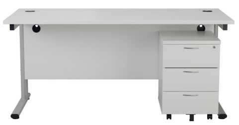 Ziggy Rectangular Desk And 3 Drawer Pedestal Bundle In White Front View
