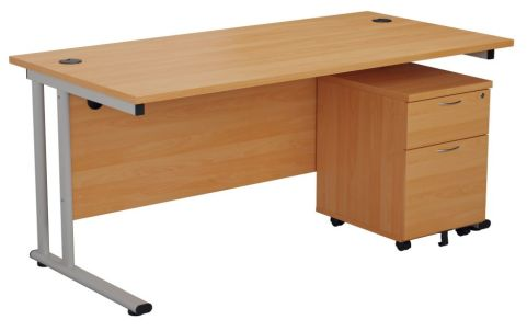 Ziggy Rectangular Desk And 2 Drawer Pedestal Bundle In Beech