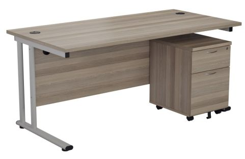 Ziggy Rectangular Desk And 2 Drawer Pedestal Bundle In Grey Oak Angled View