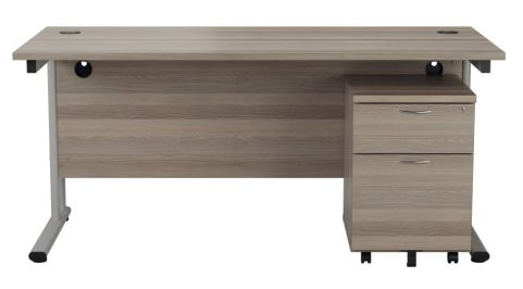 Ziggy Rectangular Desk And 2 Drawer Pedestal Bundle In Grey Oak Front View