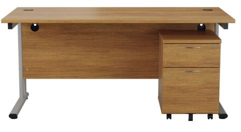 Ziggy Rectangular Desk And 2 Drawer Pedestal Bundle In Light Walnut