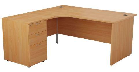 Ziggy Left Hand Corner Desk And Pedestal Bundle In Beech