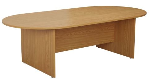 Ziggy D End Meeting Table In Light Walnut Angled View