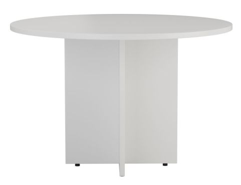 Ziggy Circular Meeting Table In White Front View