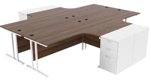 Ziggy Four Person Corner Desk And Pedestal Bundle In Dark Walnut