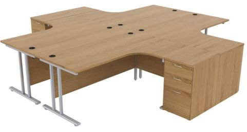 Ziggy Four Person Corner Desk And Pedestal Bundle In Light Walnut