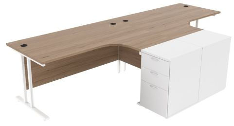 Ziggy Two Person Corner Desk And Pedestal Bundle In Grey Oak