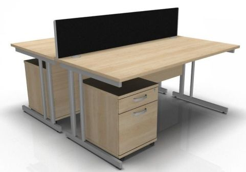 Ziggy Two Person Desk Pedestal And Screen Bundle In Maple