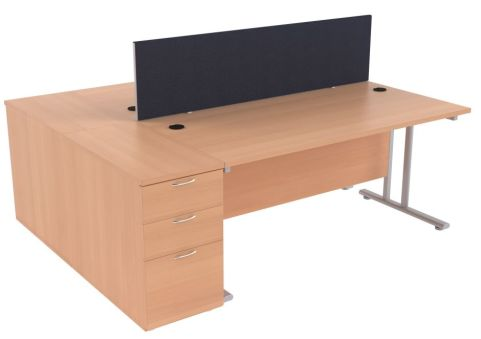 Ziggy Two Person Desk Screen And Pedestal Bundle