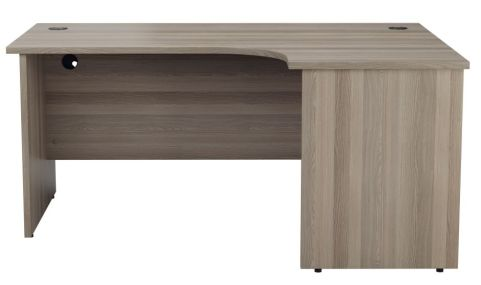 Ziggy Right Hand Panel Corner Desk In Grey Oak Front View
