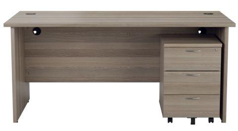 Ziggy Rectangular Panel Desk And 3 Drawer Pedestal Bundle In Grey Oak Front View
