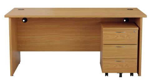 Ziggy Rectangular Panel Desk And 3 Drawer Pedestal Bundle In Light Walnut Front View