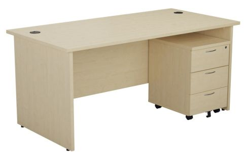Ziggy Rectangular Panel Desk And 3 Drawer Pedestal Bundle In Maple Angled View
