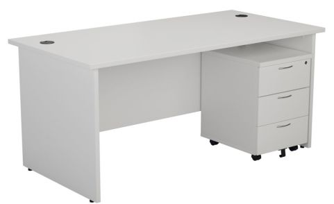 Ziggy Rectangular Panel Desk And 3 Drawer Pedestal Bundle In White Angled View