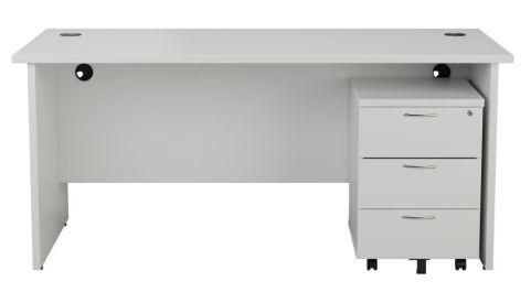 Ziggy Rectangular Panel Desk And 3 Drawer Pedestal Bundle In White Front View