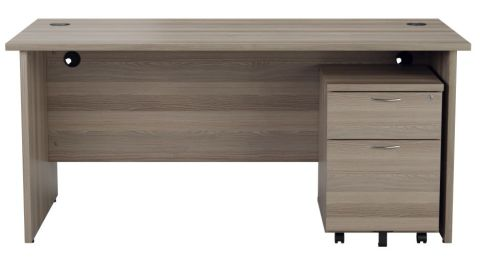 Ziggy Rectangular Panel Desk And 2 Drawer Pedestal Bundle In Grey Oak Front View
