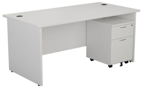 Ziggy Rectangular Panel Desk And 2 Drawer Pedestal Bundle In Maple Angled View