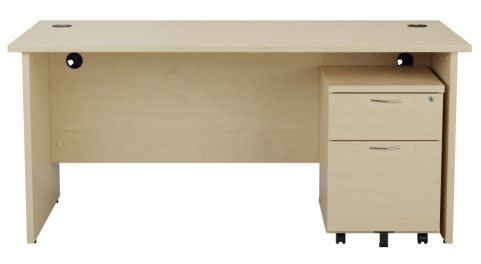 Ziggy Rectangular Panel Desk And 2 Drawer Pedestal Bundle In Maple Front View