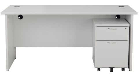 Ziggy Rectangular Panel Desk And 2 Drawer Pedestal Bundle In White Front View
