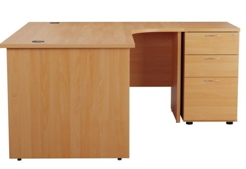 Ziggy Right Hand Corner Panel Desk And Pedestal Bundle In Beech Side View