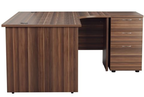 Ziggy Right Hand Corner Panel Desk And Pedestal Bundle In Dark Walnut Side View