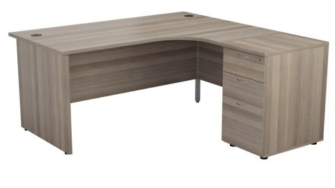 Ziggy Right Hand Corner Panel Desk And Pedestal Bundle In Grey Oak Angled View