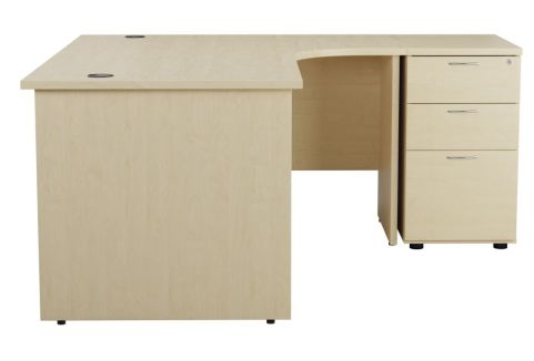 Ziggy Right Hand Corner Panel Desk And Pedestal Bundle In Maple Side View