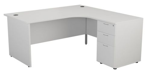 Ziggy Right Hand Corner Panel Desk And Pedestal Bundle In White Angled View
