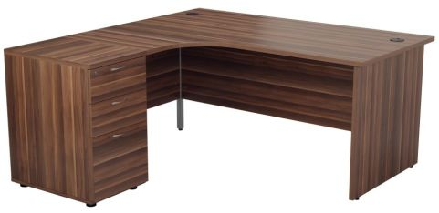 Ziggy Left Hand Corner Panel Desk And Pedestal Bundle In Dark Walnut Angled View