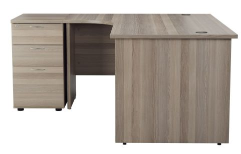 Ziggy Left Hand Corner Panel Desk And Pedestal Bundle In Grey Oak Side View