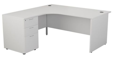 Ziggy Left Hand Corner Panel Desk And Pedestal Bundle In White Angled View