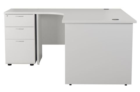 Ziggy Left Hand Corner Panel Desk And Pedestal Bundle In White Side View